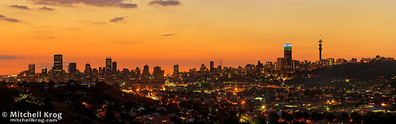 Panorama of JHB Johannesburg City Skyline at Dusk