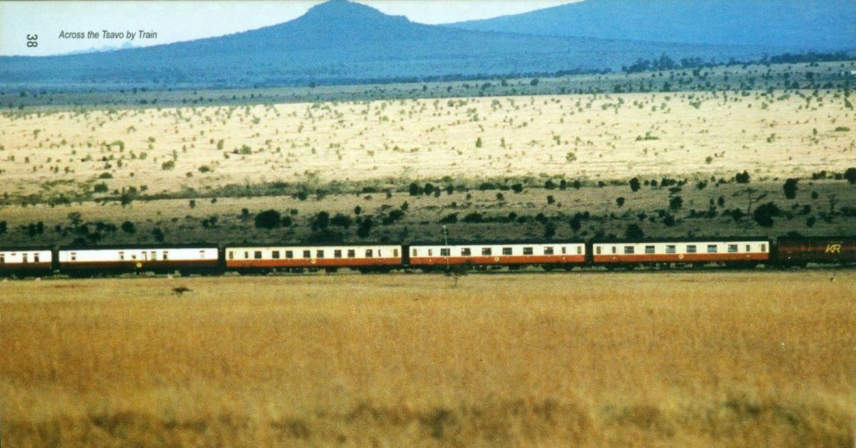 Nairobi-Mombasa train passin through Tsavo national park.