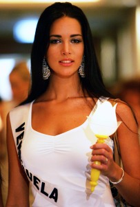 Miss Universe 2005 contestant Monica Spear of Venezuela takes part in an AIDS candlelight memorial in a Bangkok hotel to remember those who have lost their lives to the disease in this May 16, 2005 file photo. Spear, 29, former Miss Venezuela, model and telenovela actress and her Irish husband Thomas Henry Berry, 49, were shot dead after an attempted robbery late January 6, 2014, according to police and local media. REUTERS/Chaiwat Subprasom/Files (THAILAND - Tags: CRIME LAW OBITUARY)