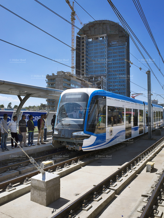 Addis Ababa. Light rail transportation. Tramway Station. Passengers. Construction