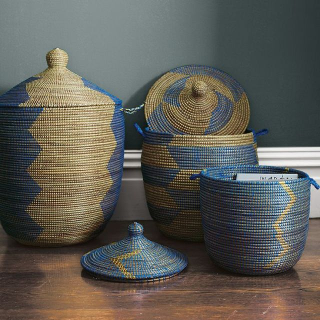 sophisticated-senegalese-storage-baskets-in-blue-zig-zag-pattern